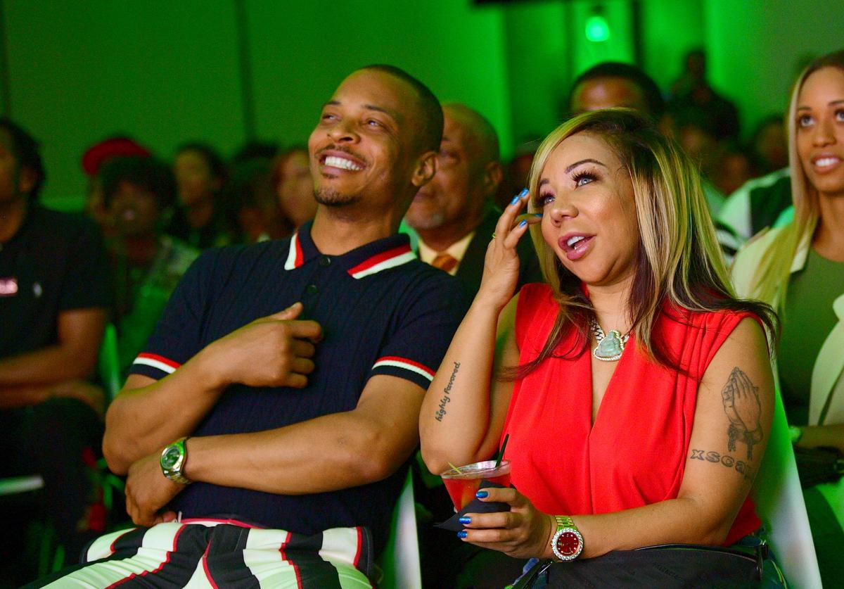 Tip 'T.I.' Harris and Tameka 'Tiny' Harris attend 'The Grand Hustle' Exclusive Viewing Party at at The Gathering Spot on July 19, 2018 in Atlanta, Georgia