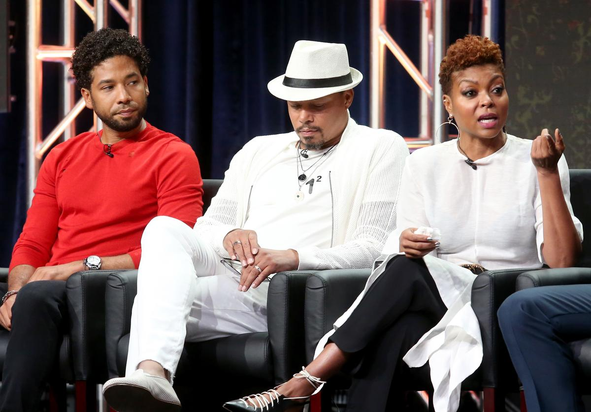 Actors Jussie Smollett, Terrence Howard, and Taraji P. Henson of 'Empire' speak onstage during the FOX portion of the 2017 Summer Television Critics Association Press Tour at The Beverly Hilton Hotel on August 8, 2017 in Beverly Hills, California.