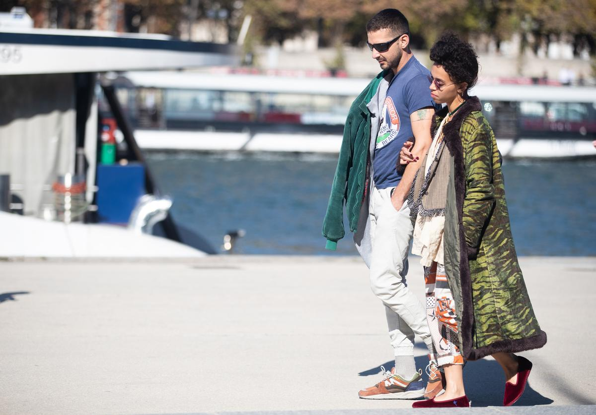 Shia LaBeouf and FKA Twigs are spotted on the Seine river on September 30, 2018