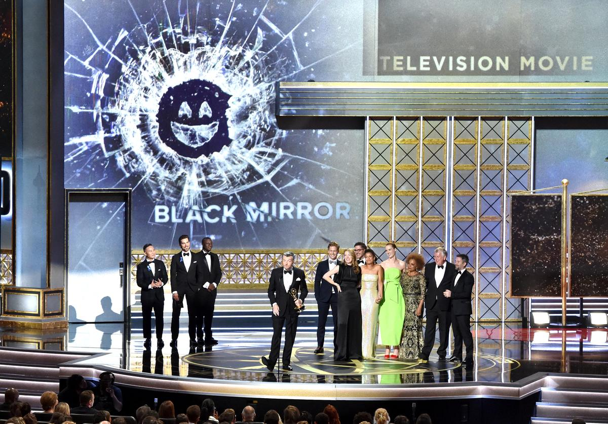 The cast and crew of Black Mirror accept an award onstage during the 69th Annual Primetime Emmy Awards at Microsoft Theater on September 17, 2017 in Los Angeles, California
