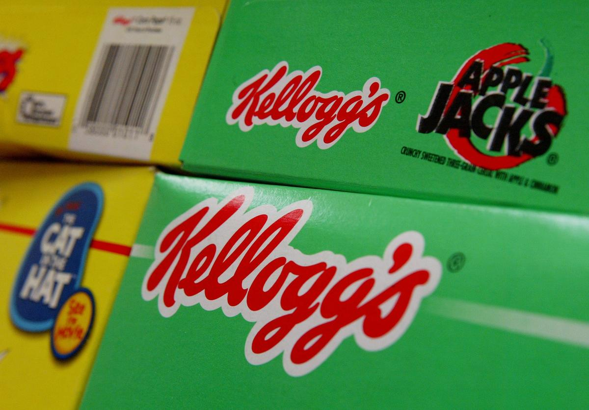 Boxes of Kellogs brand cereal are seen on the shel
