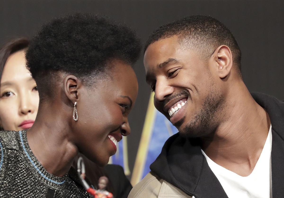 Lupita Nyong'o(L) and Michael B. Jordan attend the press conference for the Seoul premiere of 'Black Panther' on February 5, 2018 in Seoul, South Korea