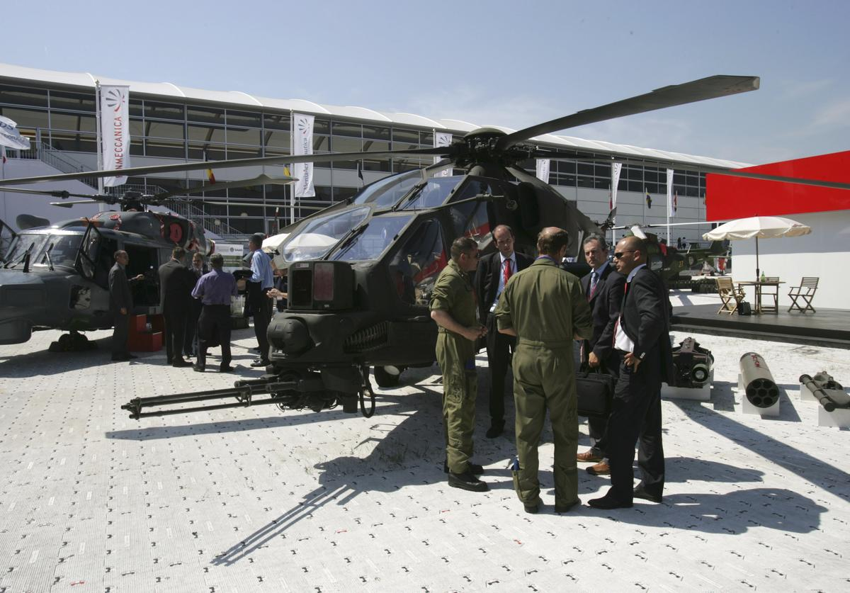 A129 hellicopter is seen at the Farnborough Airshow on July 19, 2006 in Farnborough, England.