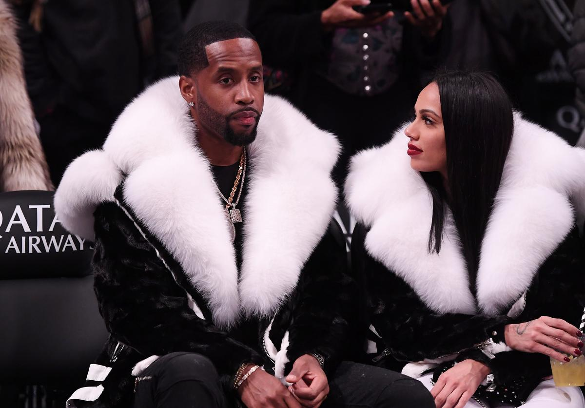 Safaree Samuels and Erica Mena attend the game between the Utah Jazz and the Brooklyn Nets at Barclays Center on November 28, 2018 in the Brooklyn borough of New York City