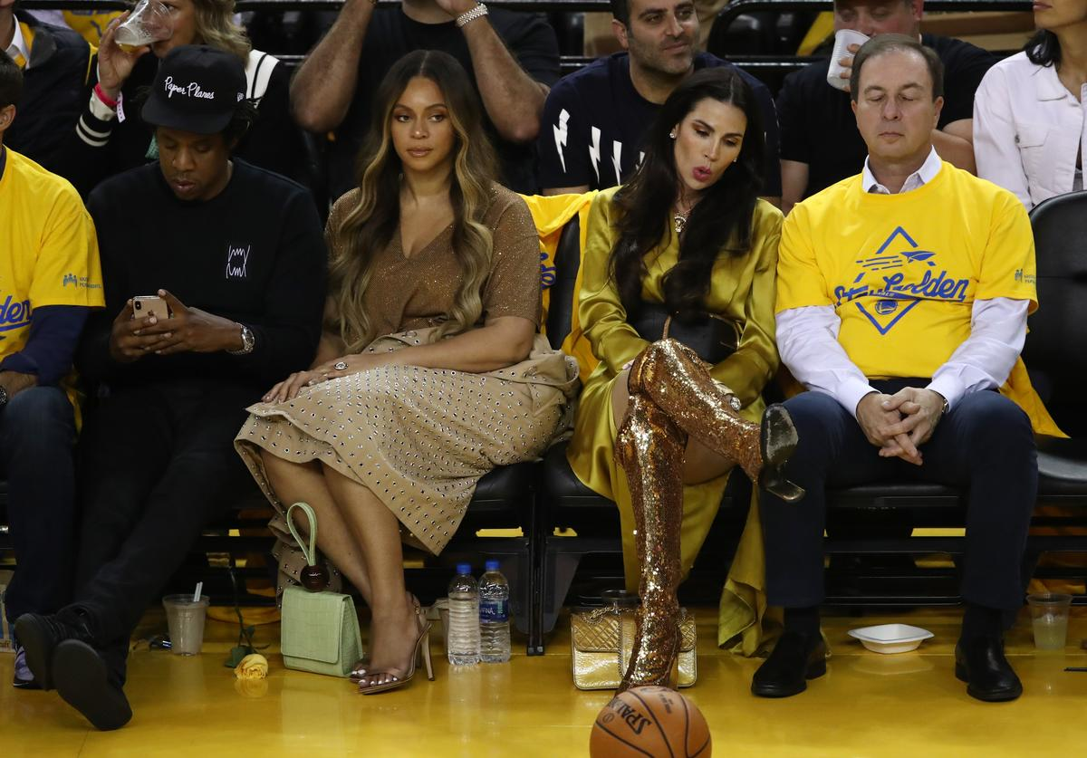 Jay-Z and Beyonce attend Game Three of the 2019 NBA Finals between the Golden State Warriors and the Toronto Raptors at ORACLE Arena on June 05, 2019 in Oakland, California