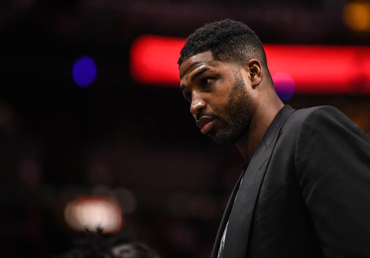Tristan Thompson of the Cleveland Cavaliers on the bench during the in the first half against the Miami Heat at American Airlines Arena on March 8, 2019 in Miami, Florida