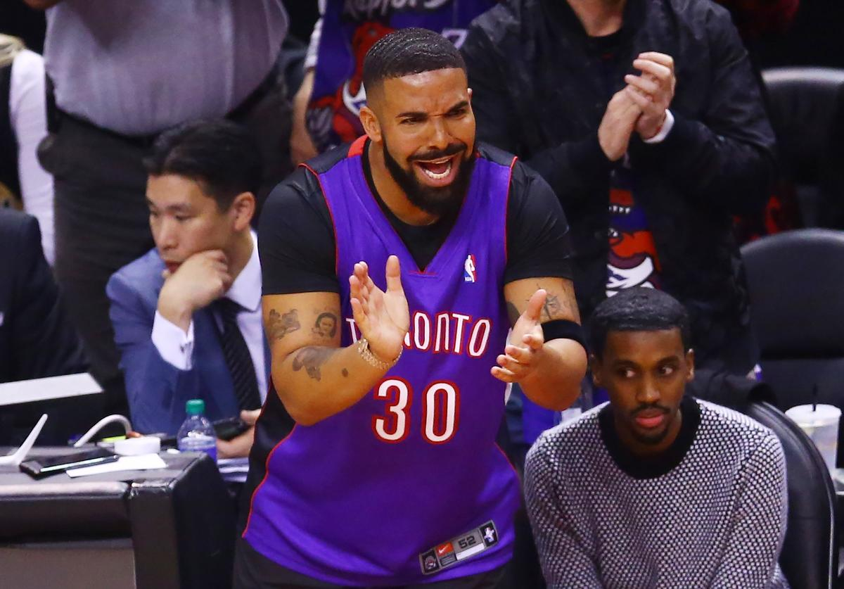 Drake reacts during Game One of the 2019 NBA Finals between the Golden State Warriors and the Toronto Raptors at Scotiabank Arena on May 30, 2019 in Toronto, Canada.