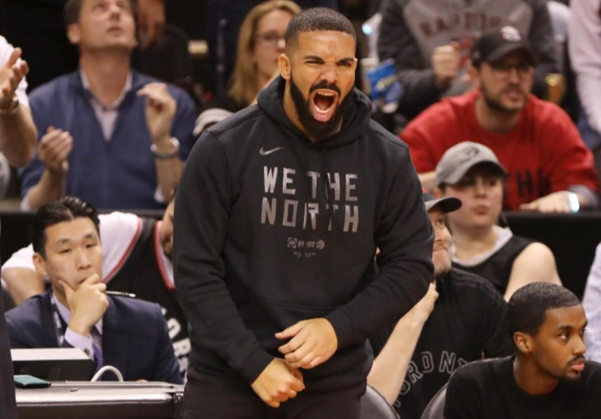 Drake reacts during Game Two of the NBA Finals between the Golden State Warriors and Toronto Raptors on June 2, 2019 at Scotiabank Arena in Toronto, Ontario, Canada.