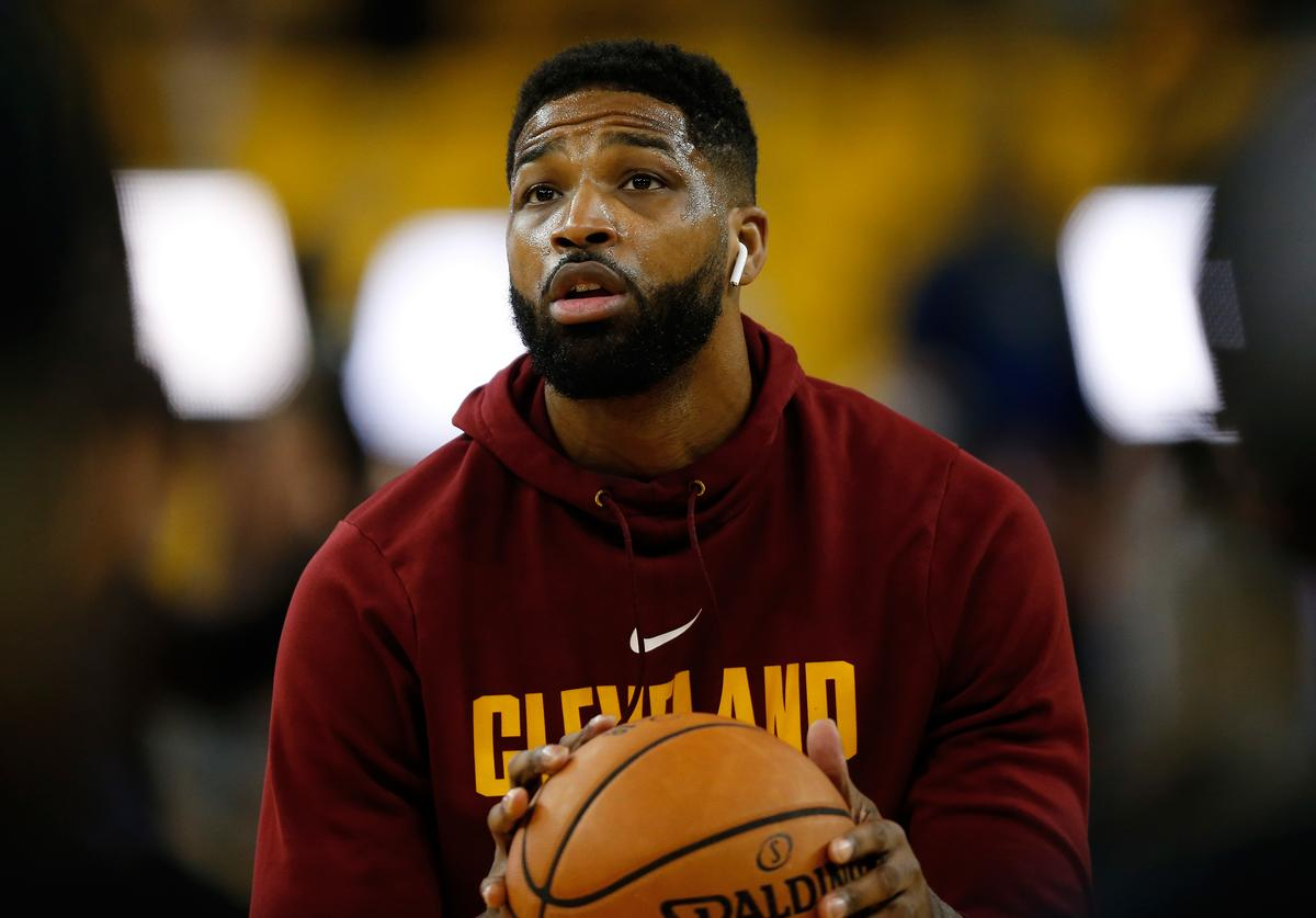 Tristan Thompson #13 of the Cleveland Cavaliers warms up