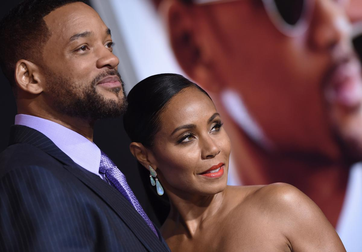 Actors Will Smith and Jada Pinkett Smith arrive at the Los Angeles World Premiere