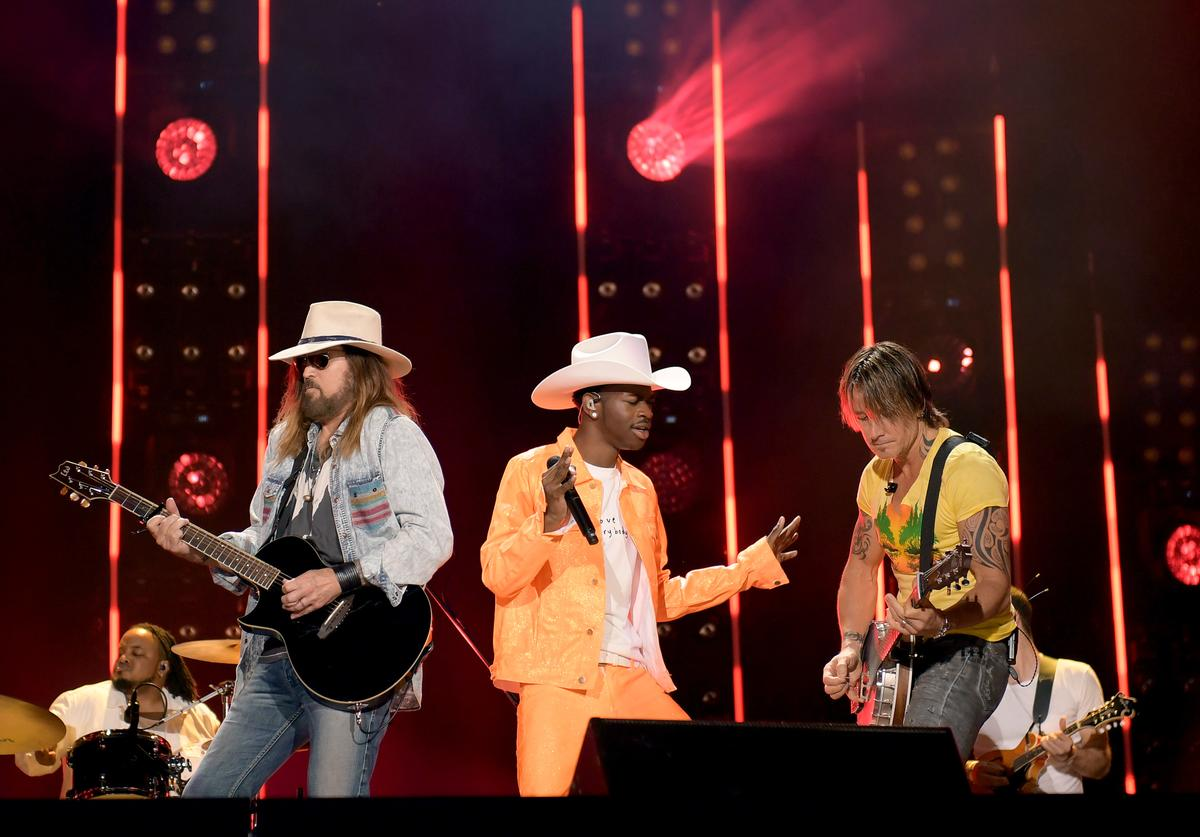 Billy Ray Cyrus, Lil Nas X and Keith Urban perform onstage