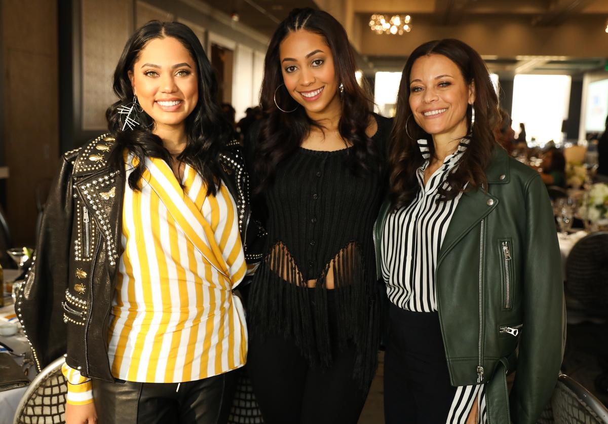 Ayesha Curry, Sydel Curry and Sonya Curry pose as the The National Basketball Wives Assosciation presents the first annual Women's Empowerment Summit Luncheon on February 17, 2018 in Los Angeles, California.