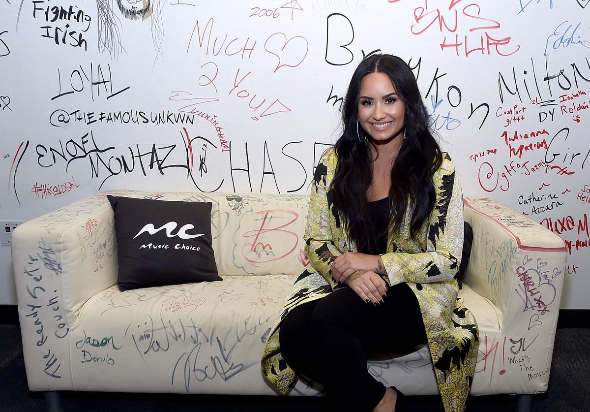 Demi Lovato Visits Music Choice at Music Choice on March 22, 2018 in New York City.