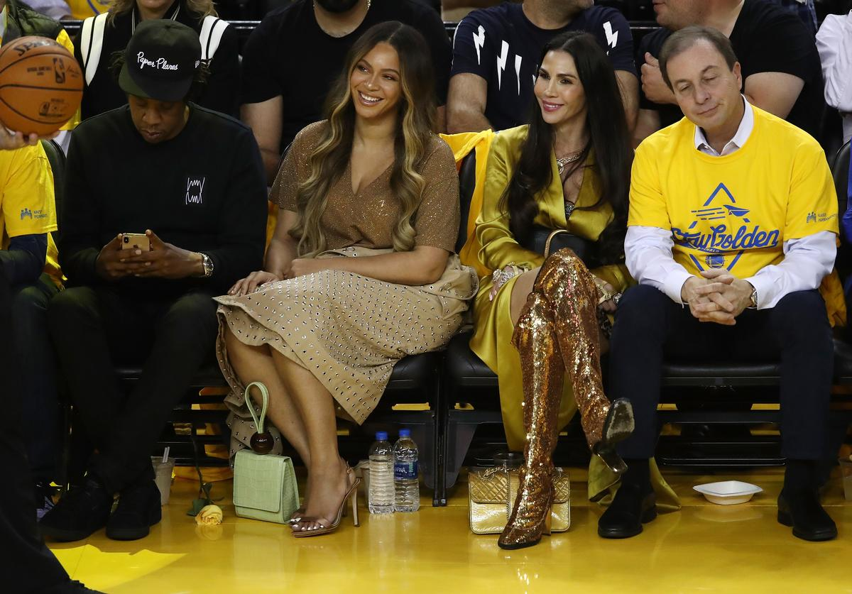 Jay-Z, Beyonce, Nicole Curran and Joseph S. Lacob attend Game Three