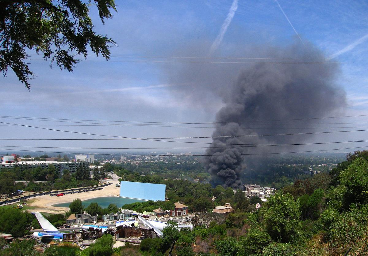 A huge fire on the backlot of Universal Studios burns in the Hollywood Hills on June 1, 2008 in Universal City, California