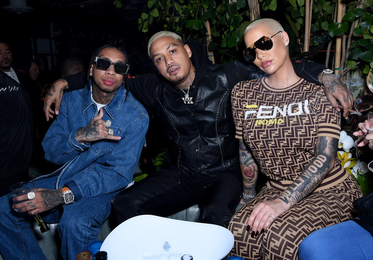 Tyga, AE and Amber Rose attend the Def Jam Pre-Grammy 2019 party at Catch LA sponsored by Courvoisier, Puma, Klasse 14 and Tik Tok on February 08, 2019 in West Hollywood, California