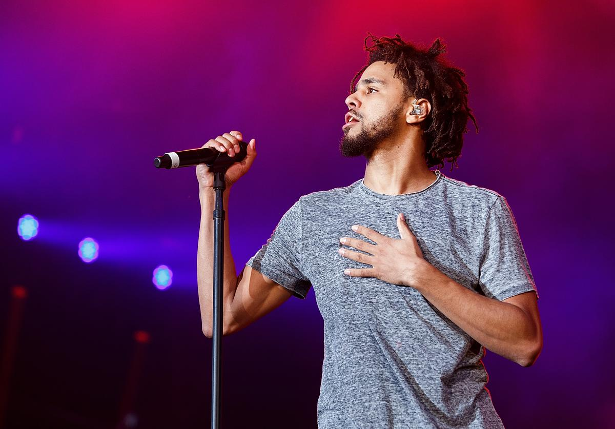 J. Cole performs onstage during day 2 of Pemberton Music Festival on July 15, 2016 in Pemberton, Canada