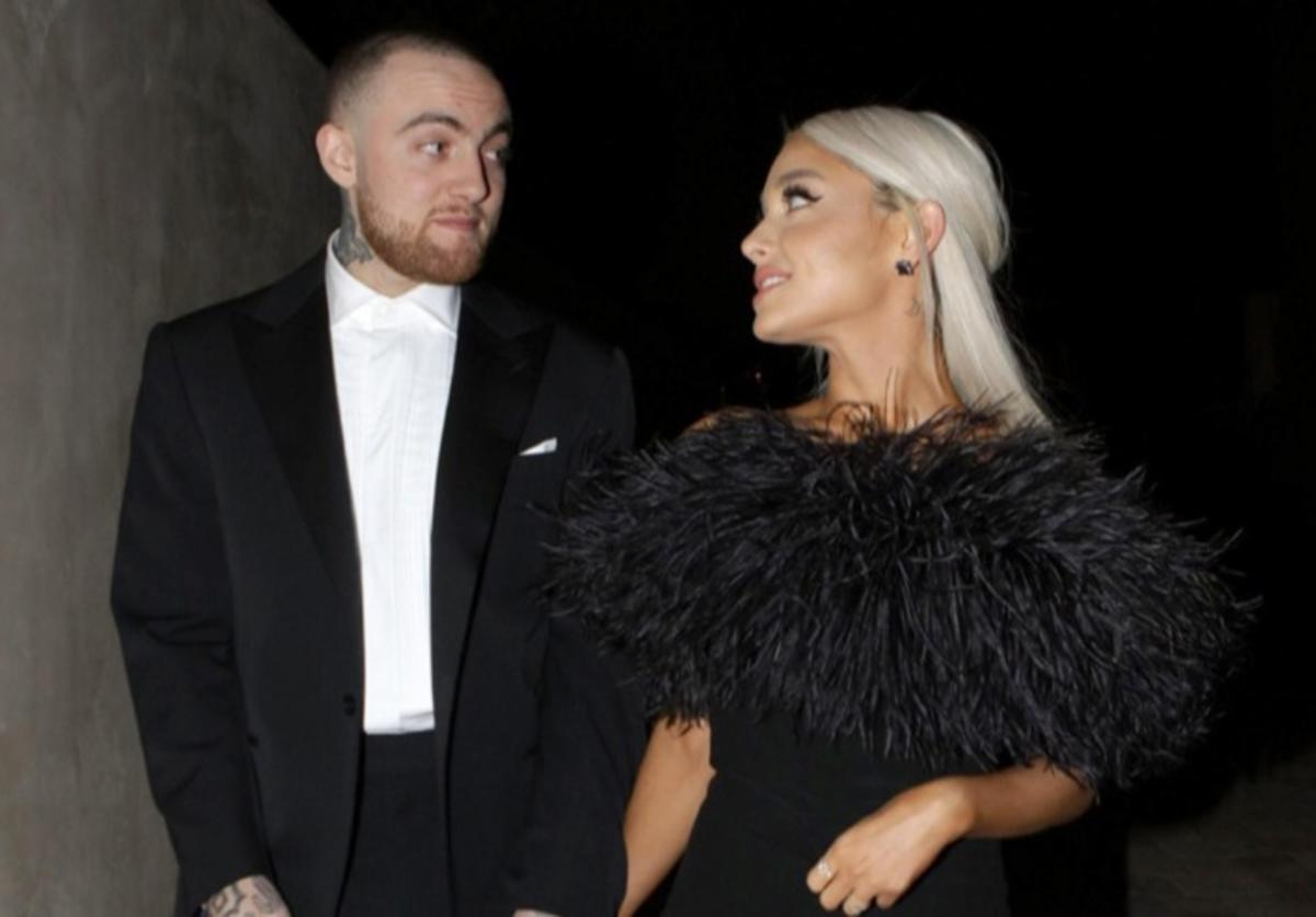Rapper Mac Miller and singer Ariana Grande are seen attending an Oscar party on March 4, 2018 in Los Angeles, California.