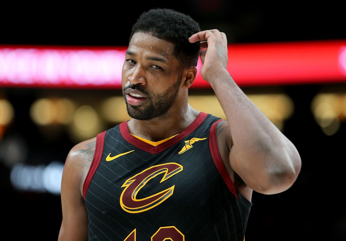 Tristan Thompson #13 of the Cleveland Cavaliers reacts in the first half against hte Portland Trail Blazers during their game at Moda Center on January 16, 2019 in Portland, Oregon.