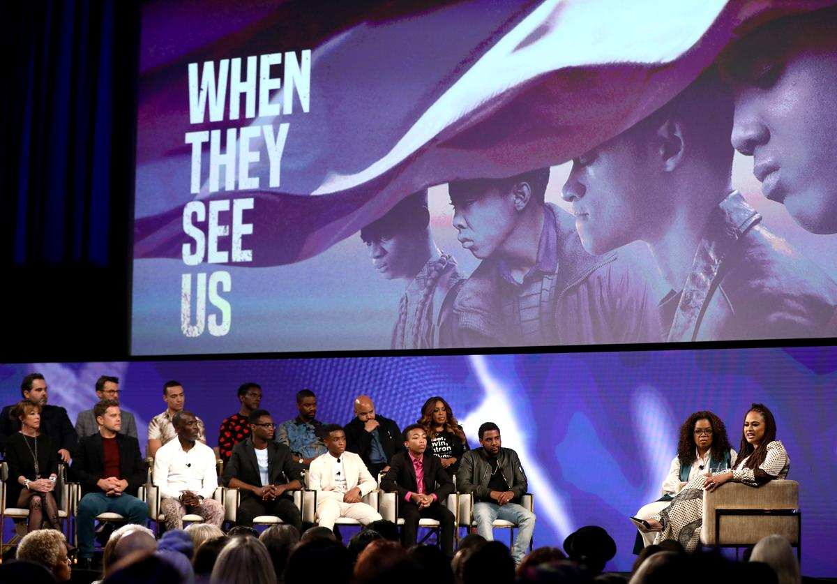 "Berry Welsh, Jonathan King, Freddy Miyares, Chris Chalk,Jovan Adepo, Justin Cunningham, Niecy Nash (Front Row:) Jane Rosenthal, Joshua Jackson, Michael K. Williams, Ethan Herisse, Asante Blackk and Jharrel Jerome onstage with Oprah Winfrey and Ava DuVernay at the Netflix ""When They See Us"" FYSEE Event at Raleigh Studios on June 09, 2019 in Los Angeles, California."