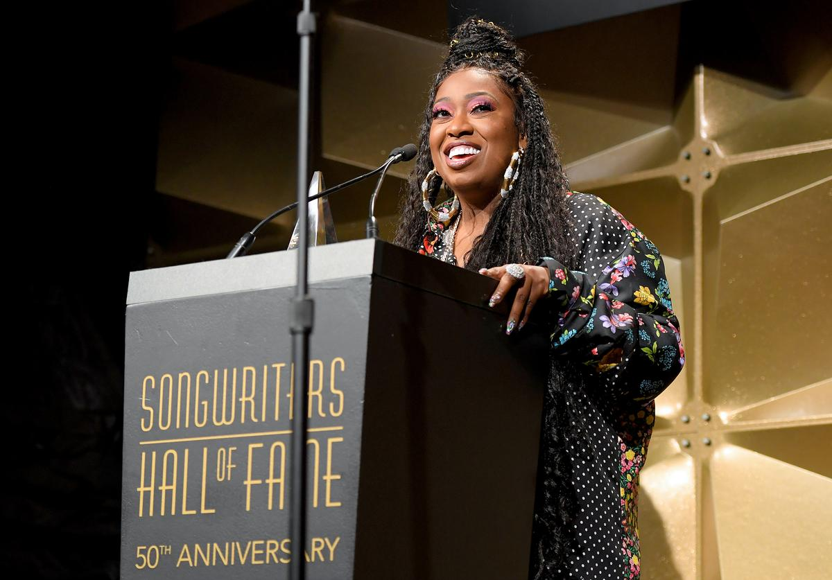 Missy Elliott speaks onstage during the Songwriters Hall Of Fame 50th Annual Induction And Awards Dinner at The New York Marriott Marquis on June 13, 2019 in New York City.