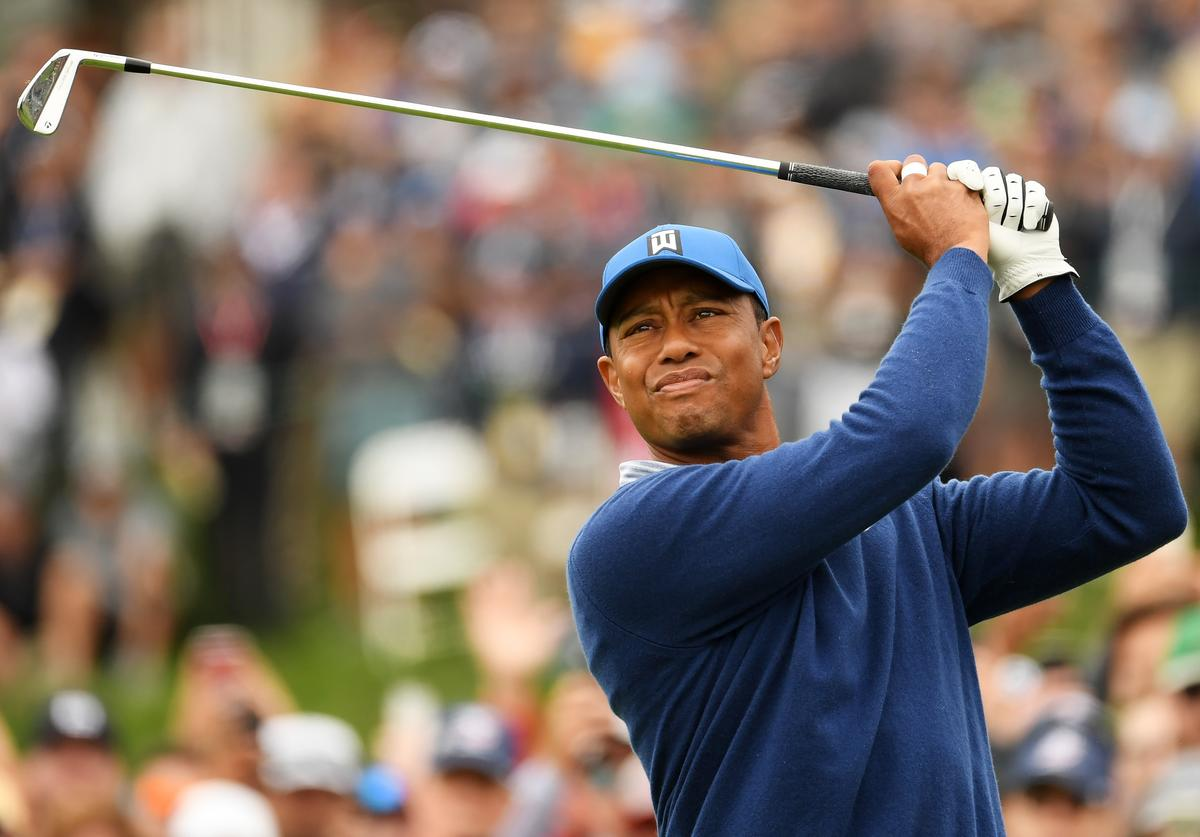 Tiger Woods of the United States plays a shot from the fourth tee during the second round of the 2019 U.S. Open at Pebble Beach Golf Links on June 14, 2019 in Pebble Beach, California.