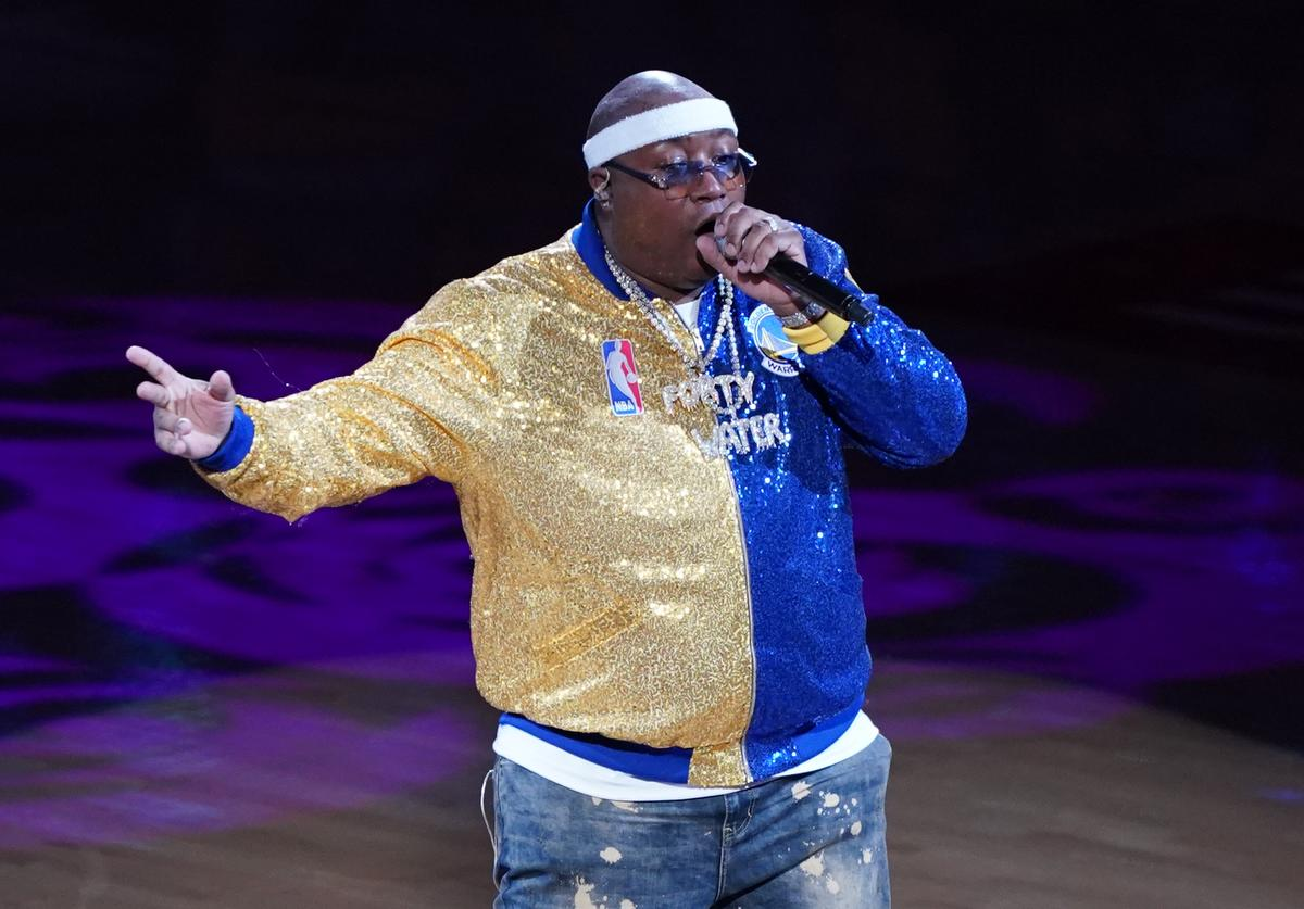 Rapper E-40 performs during Game Six of the 2019 NBA Finals between the Golden State Warriors