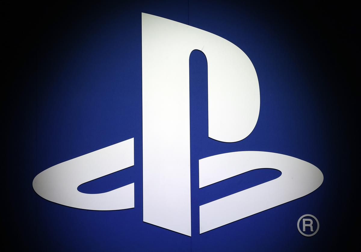 The PlayStation logo of the Sony company is displayed during the 'Paris Games Week' on October 25, 2018 in Paris, France.