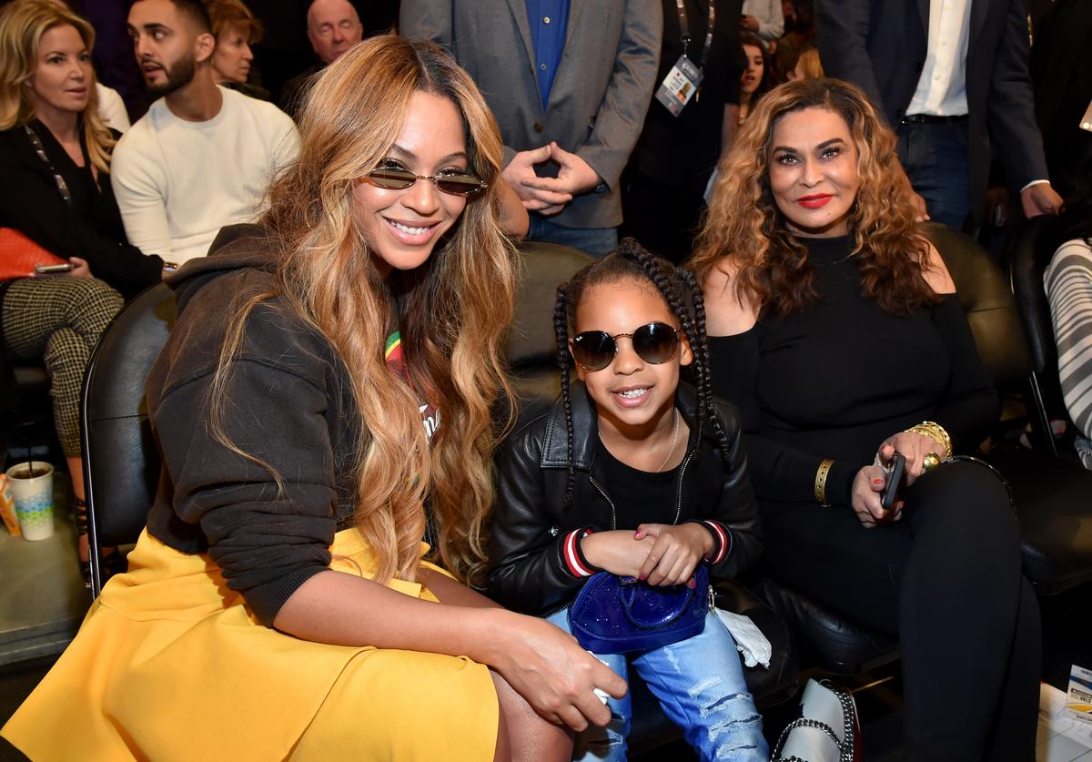 Beyonce, Blue Ivy Carter, and Tina Knowles attend the 67th NBA All-Star Game: Team LeBron Vs. Team Stephen at Staples Center on February 18, 2018 in Los Angeles, California.