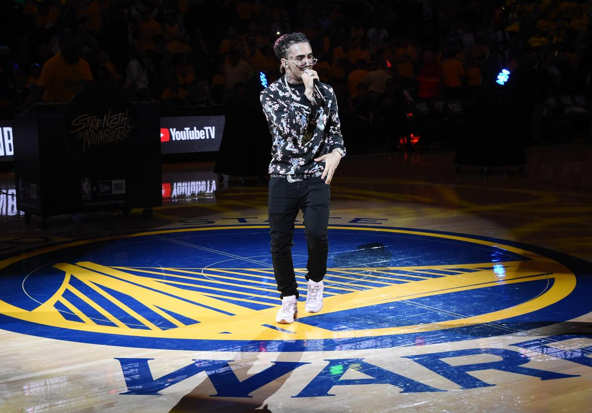Lil Pump performs during the halftime of Game Three of the NBA Finals between the Golden State Warriors and Toronto Raptors on June 5, 2019 at ORACLE Arena in Oakland, California