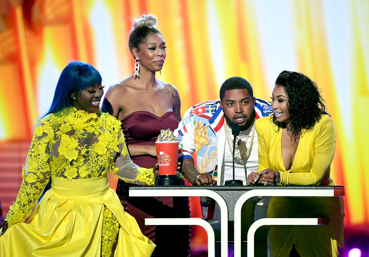Spice, Bambi, Lil Scrappy and Karlie Redd accept the Best Reality Royalty award for 'Love & Hip Hop: Atlanta' onstage with Johnny Bananas during the 2019 MTV Movie and TV Awards at Barker Hangar on June 15, 2019 in Santa Monica, California