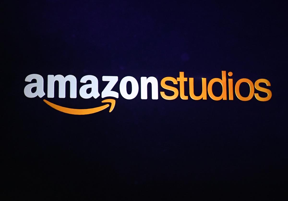 An Amazon Studios logo is projected onto the screen during a presentation at CinemaCon at the Colosseum Caesars Palace