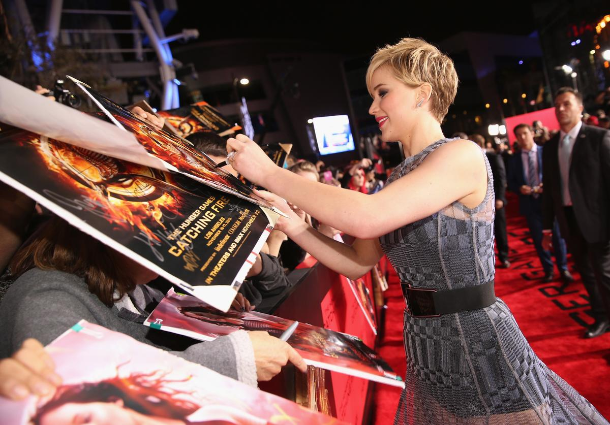 """Jennifer Lawrence attends premiere of Lionsgate's """"The Hunger Games: Catching Fire"""" - Red Carpet at Nokia Theatre L.A. Live on November 18, 2013 in Los Angeles, California"""