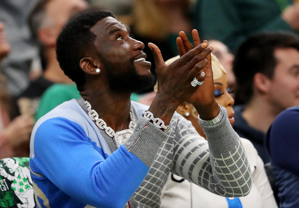 Rapper Gucci Mane watches Game 3 of the Eastern Conference Semifinals of the 2019 NBA Playoffs between the Boston Celtics and the Milwaukee Bucks at TD Garden on May 03, 2019 in Boston, Massachusetts.