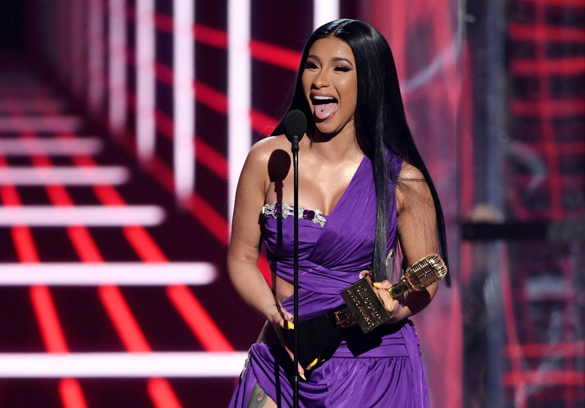 "Cardi B accepts the award for Top Hot 100 Song for ""Girls Like You"" (Maroon 5 featuring Cardi B) during the 2019 Billboard Music Awards at MGM Grand Garden Arena on May 1, 2019 in Las Vegas, Nevada"