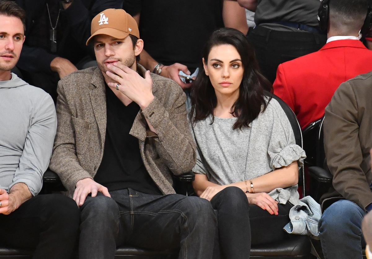 ANUARY 29: Ashton Kutcher and Mila Kunis attend a basketball game between the Los Angeles Lakers and the Philadelphia 76ers at Staples Center on January 29, 2019 in Los Angeles, California.