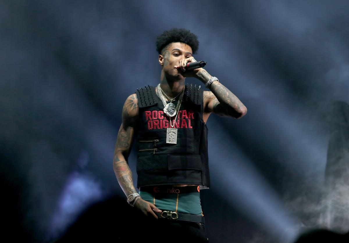 Blueface performs onstage as Fashion Nova Presents: Party With Cardi at Hollywood Palladium on May 8, 2019 in Los Angeles, California