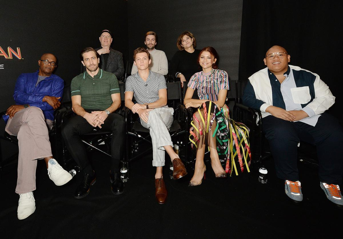 Samuel L Jackson, Jake Gyllenhaal, Kevin Feige, Tom Holland, Jon Watts, Amy Pascal, Zendaya and Jacob Batalon attend the Spider-Man: Far From Home Facebook Live / Photo Call at Corinthia Hotel London on June 19, 2019 in London, England