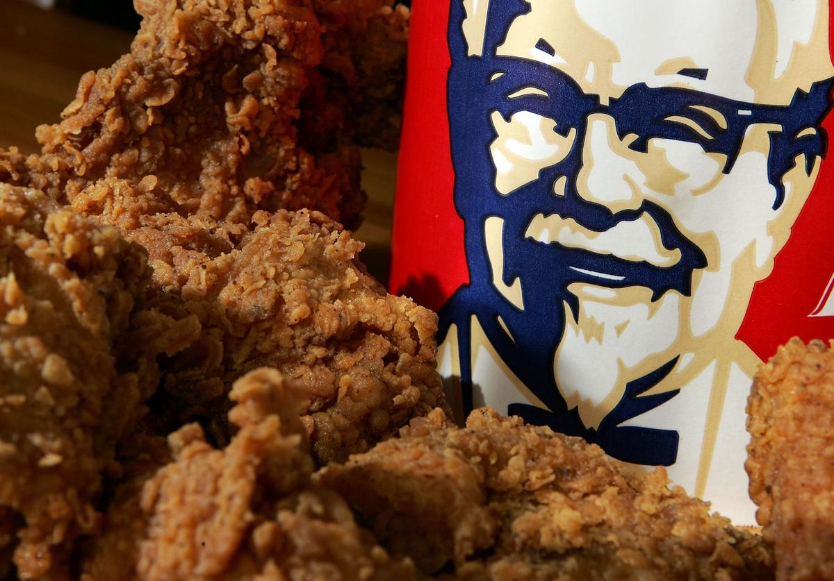 A bucket of KFC Extra Crispy fried chicken is displayed October 30, 2006 in San Rafael, California