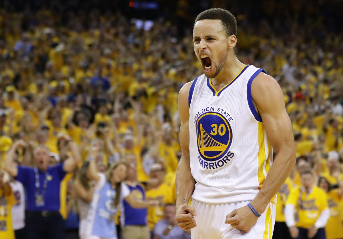 Stephen Curry #30 of the Golden State Warriors reacts in the third quarter of Game Seven of the Western Conference Finals against the Oklahoma City Thunder during the 2016 NBA Playoffs at ORACLE Arena on May 30, 2016 in Oakland, California. NOTE TO USER: User expressly acknowledges and agrees that, by downloading and or using this photograph, User is consenting to the terms and conditions of the Getty Images License Agreement.