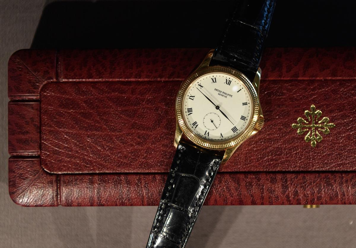 "A Patek Philippe wristwatch formally owned by Nelson Mandela is seen at a press preview of ""Mandela: The Official Exhibition"" at 26 Leake Street on February 07, 2019 in London, England."