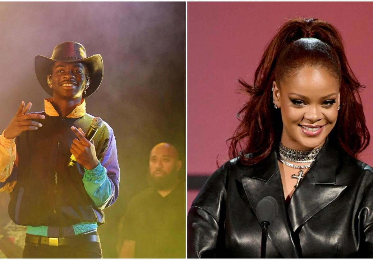 Lil Nas X performs at Summer Jam 2019 at MetLife Stadium on June 02, 2019 & Rihanna speaks onstage at the 2019 BET Awards on June 23, 2019