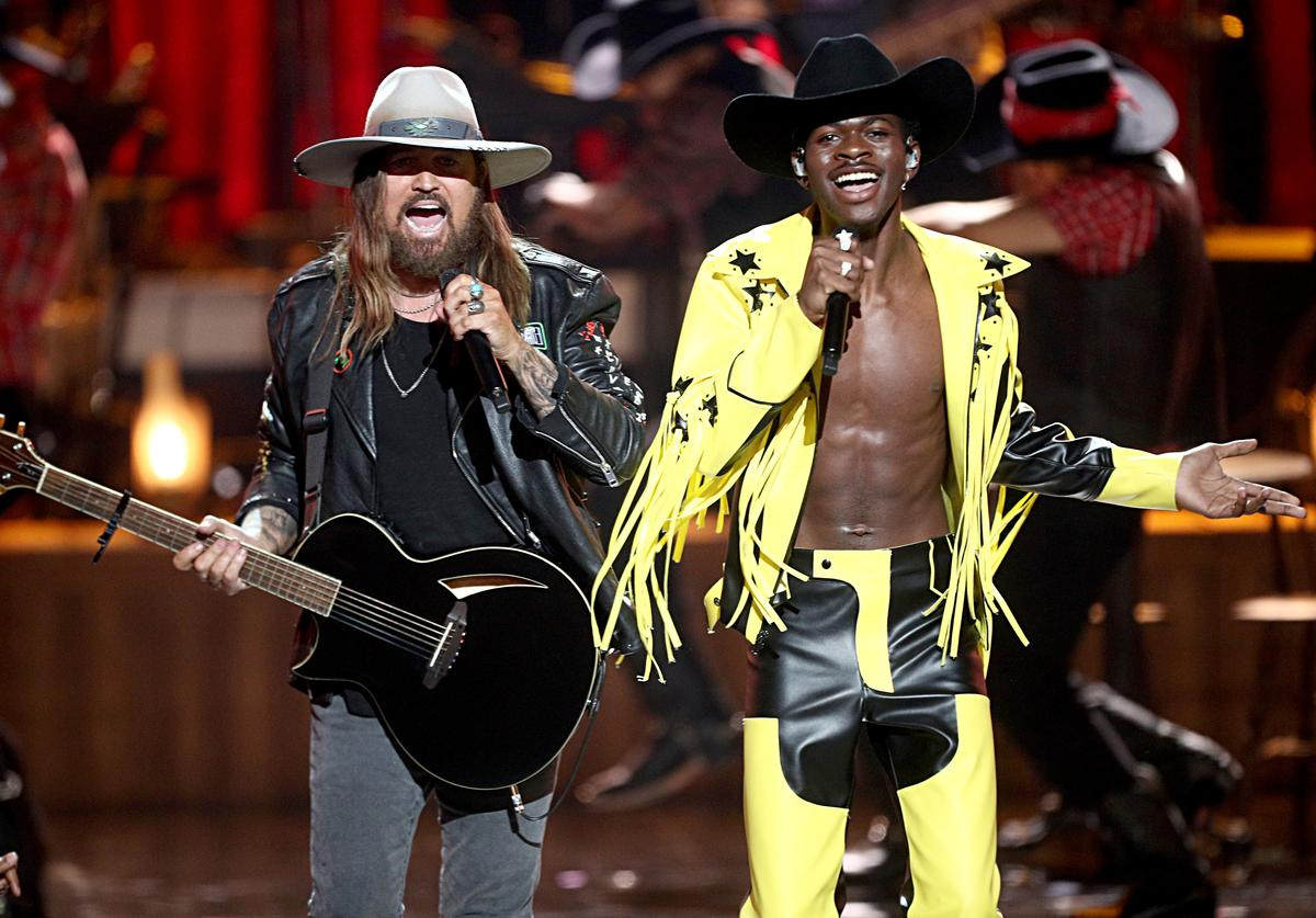 Billy Ray Cyrus and Lil Nas X perform onstage at the 2019 BET Awards on June 23, 2019