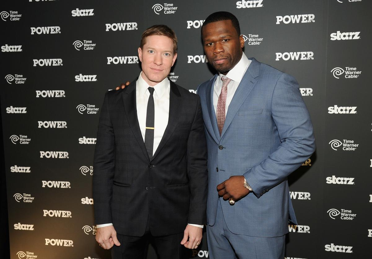 """Joseph Sikora (L) and executive producer Curtis '50 Cent' Jackson attend the Starz """"Power"""" premiere on June 2, 2014 in New York City"""