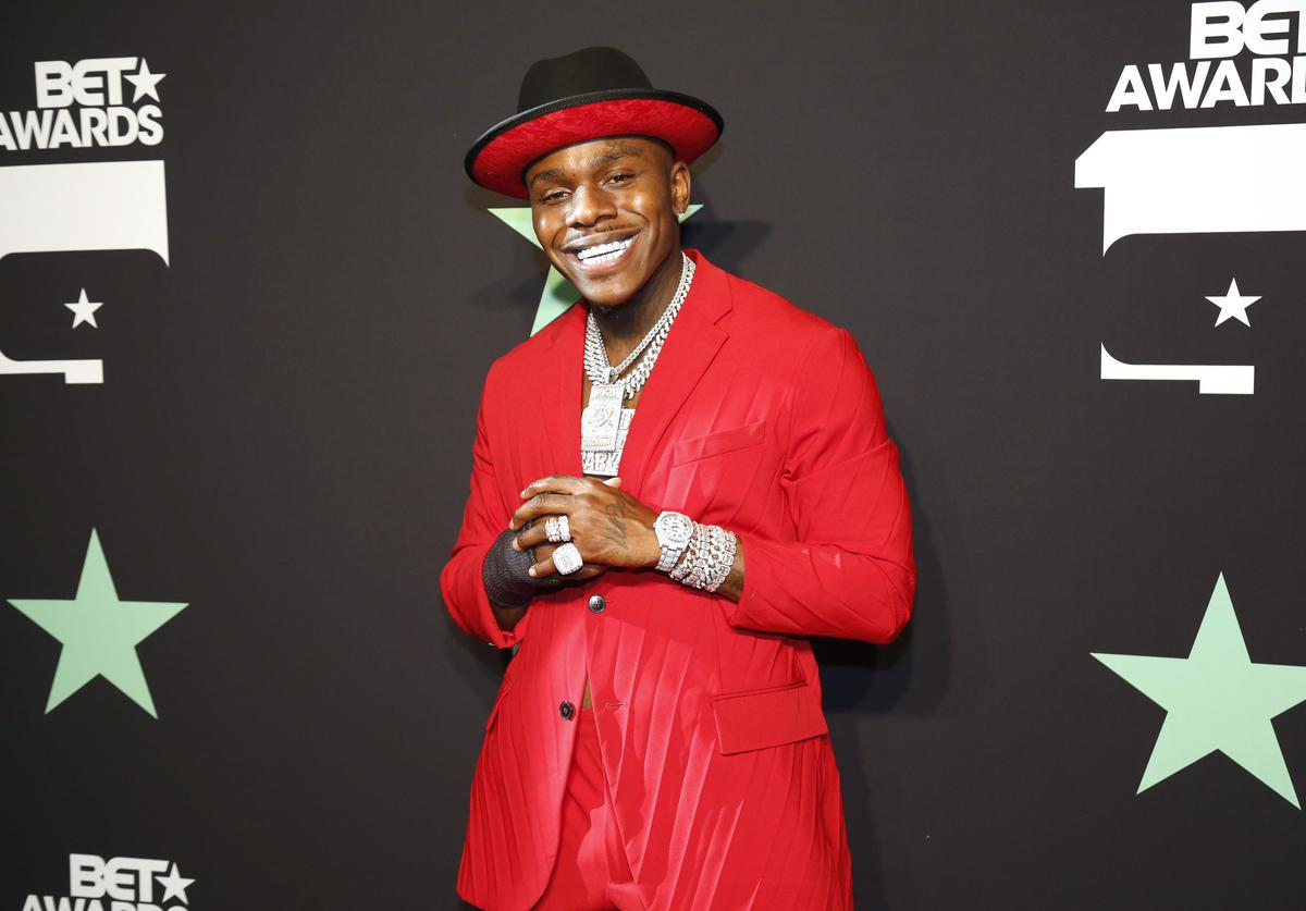 DaBaby poses in the press room at the 2019 BET Awards at Microsoft Theater on June 23, 2019 in Los Angeles, California