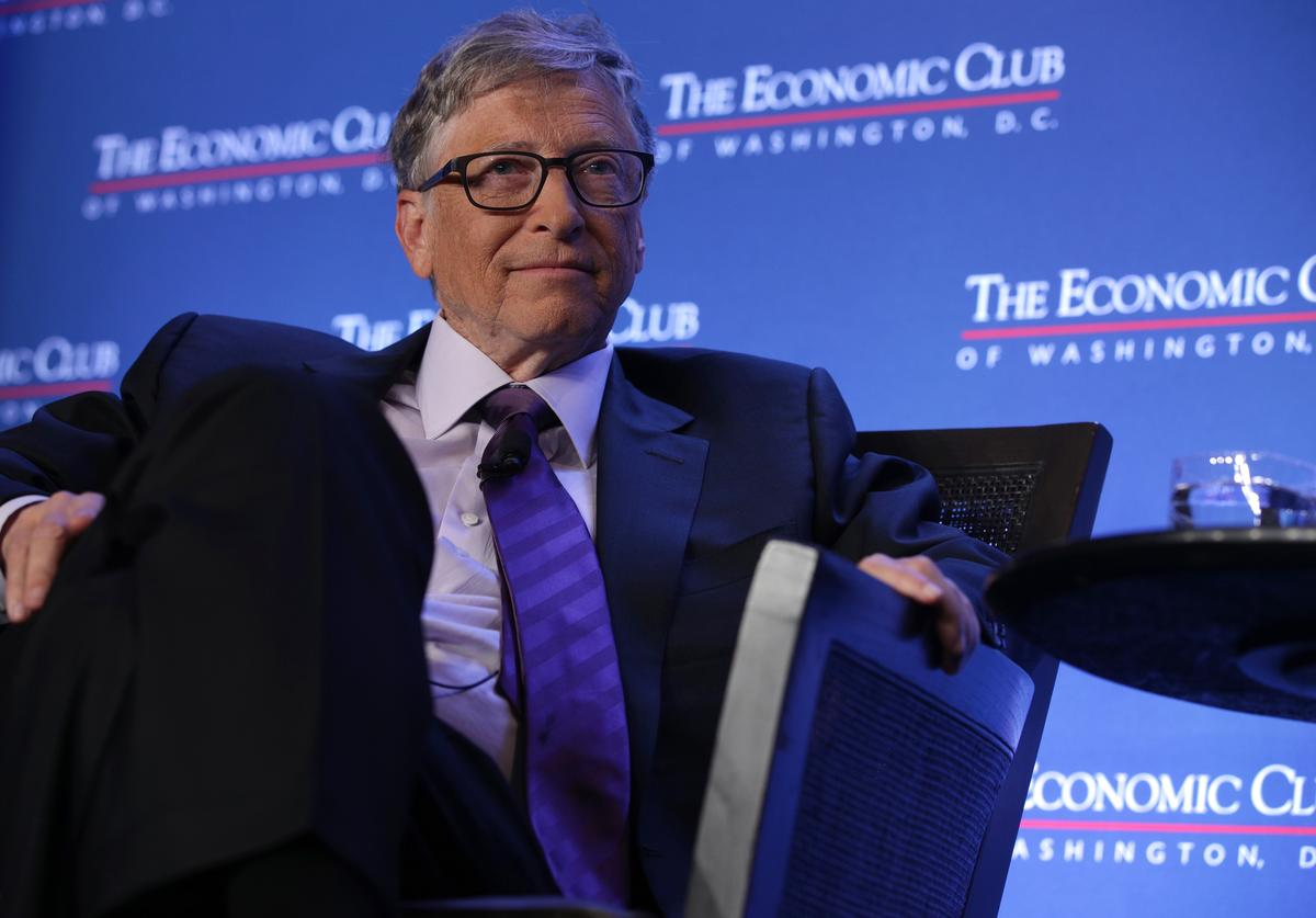 Microsoft principle founder Bill Gates participates in a discussion during a luncheon of the Economic Club of Washington June 24, 2019
