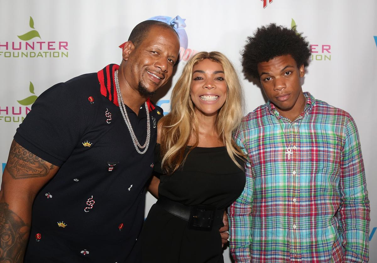 Kevin Hunter, wife Wendy Williams and son Kevin Hunter Jr pose at a celebration for The Hunter Foundation Charity that helps fund programs for families and youth communities in need of help and guidance at Planet Hollywood Times Square on July 11, 2017 in New York City