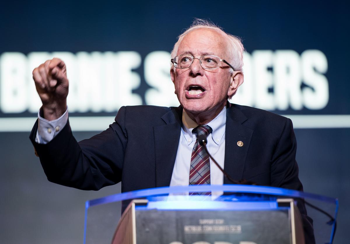Democratic presidential candidate, Sen. Bernie Sanders (I-VT) speaks to the crowd during the 2019