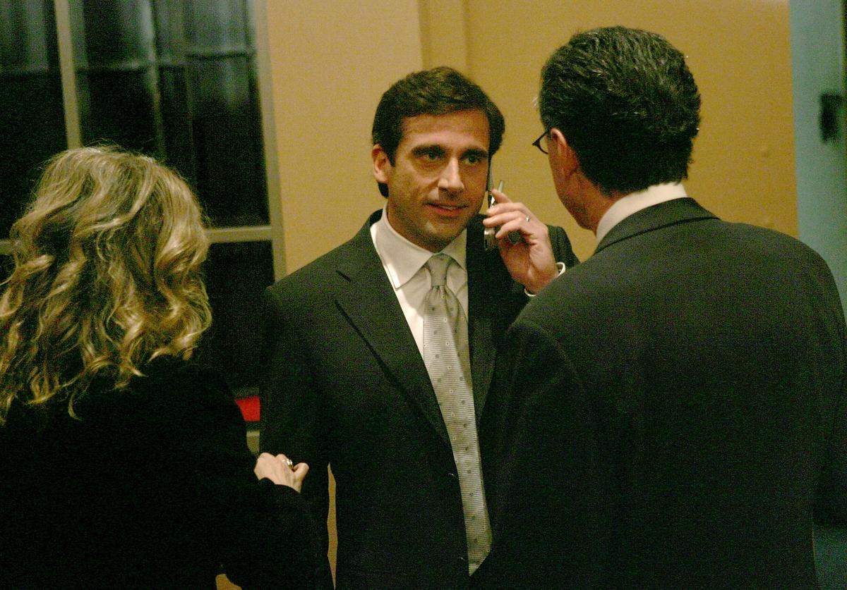Actor Steve Carell is seen speaking on a cell phone following the announcement of the nominations for the 63rd Annual Golden Globe Awards at the Beverly Hilton Hotel on December 13, 2005 in Beverly Hills, California