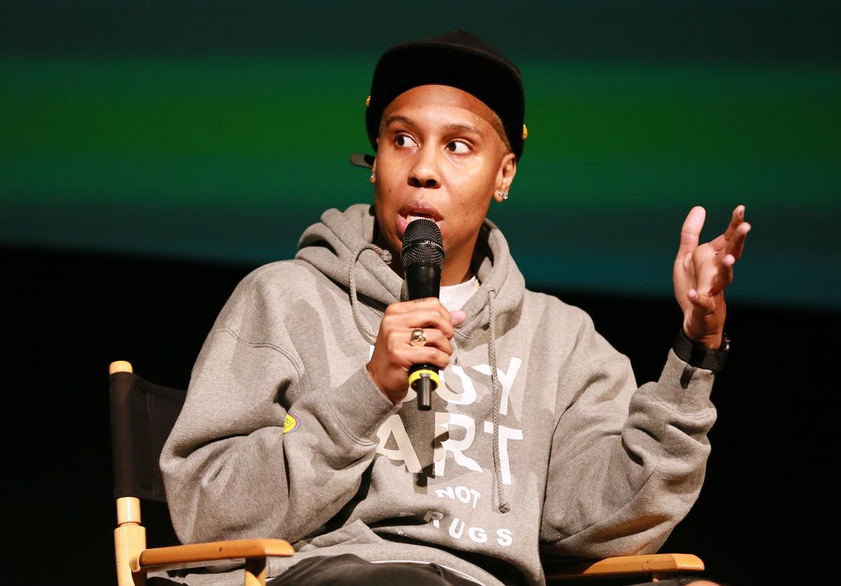 """Lena Waithe speaks to the crowd during BET's """"Boomerang"""" Emmy FYC Screening Event at Paramount Theater on the Paramount Studios"""